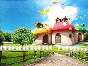 China Wear Resistant Bamboo Fiber Material Mushroom House In Park 300cm X 225cm on sale