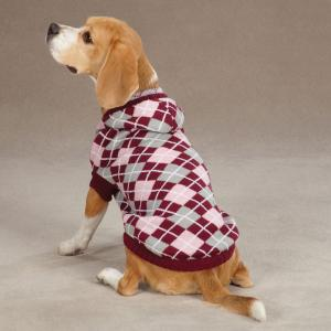 China Custom hand knitted Hooded Argyle dog sweaters for winter - Raspberry on sale