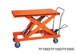 Flexible Double Scissor Hand Lift Table Steering Mechanical , Casters With  Brakes