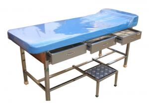 China Stainless Steel Doctor Examination Table With Drawers / Movable Step Stool on sale