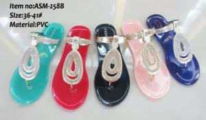 China 2014 new model women fashion nice comfatable flat PVC sandals ASM-258B on sale