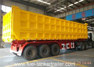 Quality Tri Axles Side dumper trailer truck with 10 / 10 / 10 Heavy duty leaf spring for sale
