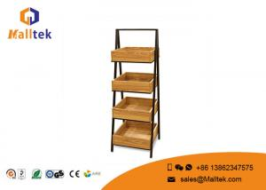China Ladder Type Shopping Wooden Retail Display Stands With Metal Frame on sale