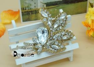 China Shining Crystal Bouquet Rhinestone Pins And Brooches , Antique Rhinestone Brooch on sale