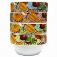 5-inch Two Segment Bowl, Stackable Bowl, Four Different Designs as Set, Porcelain Bowl