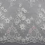3D Flower Beaded Lace Fabric , Embroidery Lace Tulle Fabric For Bridal Dresses