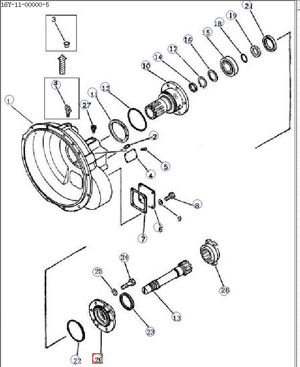 Part No 16y 11 00005 Cover Use For Shantui Sd16 Bulldozer Torque