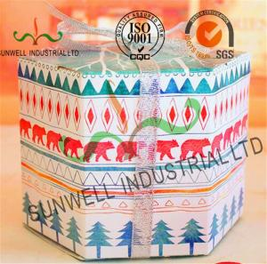 China Personalized Hexagon Cardboard Food Packaging Boxes With Ribbon Bow Decoration on sale