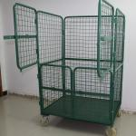 Electro Galvanized Recyclable Roll Container Trolley With 4 Door Nylon Caster