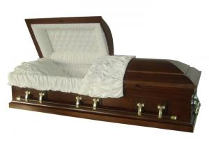 China Handmade Funeral American Style Caskets Coffin Custom Color For Adult on sale