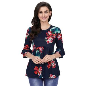 China Women Fasion 2018 New Arrival Woman Top Belled Sleeve Shirts Floral Casual Tops on sale