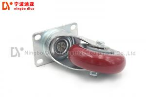 China Transparent Red Caster Wheel , Polyurethane Flat Universal Light Duty Caster Wheels on sale
