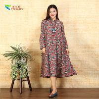 Ladies Long Sleeve Cotton Shift Dress Floral Loose Irregular Bottom Design