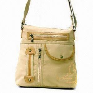 China Nylon PVC-coated Handbag with PU Trimming, Measuring 35 x 33 x 12cm on sale