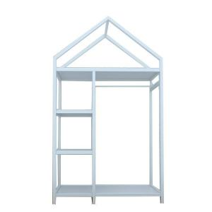 China European Style Metal Display Racks And Stands White Garment Frame House Like Shape on sale