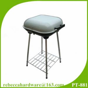 China Hamburger shaped portable charcoal bbq stand grill with four legs and storage rack on sale