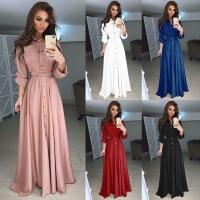 China 2018 Autumn and Winter Women Long Dress Casual Long Sleeve Slim Dress Ladies Fashion Botton Maxi Long Dress on sale