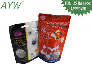 China Stand Up Food Packaging Pouches Clear Window For Fish Feeds / Dental Stick Dog Treats on sale