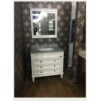 Natural Marble Counter Top Bathroom Vanity White Flush Antique Sink Cabinets 100cm / 42 inch