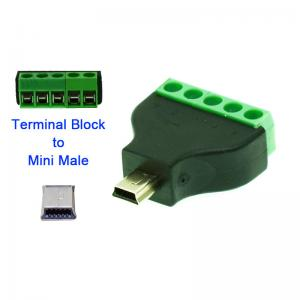 Mini USB Male or Female Jack to 5 Pin Screw Terminal Blocks