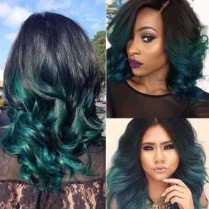 China Ombre Peruvian Human Hair Bundles With Closure 1B/Green Peruvian Body Wave Ombre Human Hair Weave With Closure on sale