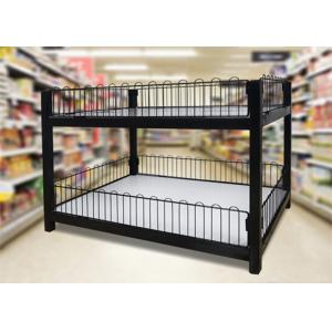Quality Two Layer Supermarket Display Shelving Supermarket Promotion Table With Storage Cabinet for sale