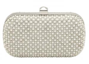 China Trendy Pearl Bead Mesh Evening Bags Hard Case For Wedding Party on sale