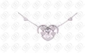 China Silver Stainless Steel Necklace Chain Heart Charms on sale