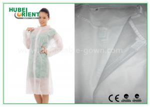 China Economical SMS Nonwoven Disposable Lab Coats with Knitted Collar and Velcro on sale