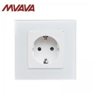 China MVAVA Single Shuko Sockets Luxury White Crystal Panel EU european wall socket factory direct sale on sale