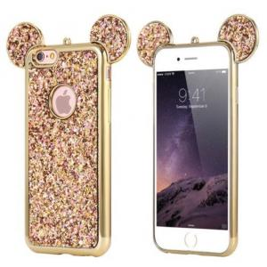 China Bling Paillettes Soft TPU Case Mickey Ear Protective Cover For iPhone 6 6s Plus on sale