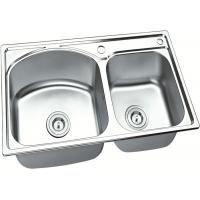 Brushed Stainless Steel Sink Bowl / Double Undermount Sink  750 X 400 MM X 150 MM Deep