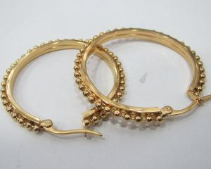 China Wholesale Jewelry Supplies of Stainless Steel Glod Hoop Earrings with Bead Chain on sale