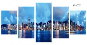 China Modern 5 Panel Canvas Wall Art City Sunset Seascape Painting Picture Artwork on sale