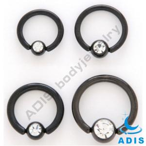 China PVD Black Ball Closure Ring CZ Stone BCR Piercing Bdoy Jewelry on sale