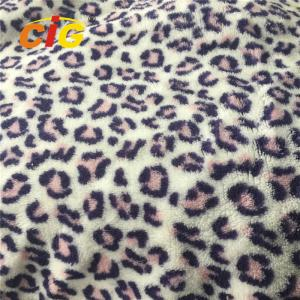 China 100% Polyester Home Textile Fabric Leopard Printed Coral Fleece on sale