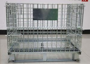 China Large Folding Wire Container , Stackable Galvanized Wire Cage For Warehouse on sale