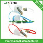 2 coloridos de encargo al por mayor en 1 cable micro retractable del usb 5pin