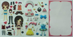 China PVC / PET Custom Puffy Stickers , Little Princess Dress Up Doll on sale