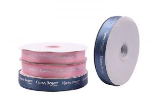 China Silver Hot Stamping Printed Satin Ribbon 1000 Yards With Custom Logo Printing on sale