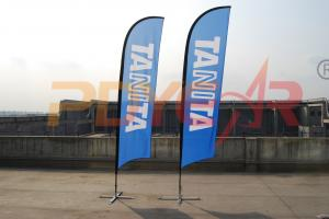 China Durable outdoor flying custom flags banners with cross base,custom feather flag on sale