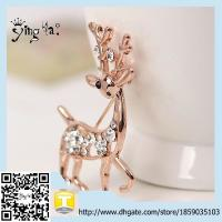 Newest Style new uniuqe fashion accessories large unisex alloy rhinestone golden giraffe brooch