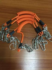 China Plastic retention rope chain w/security heavy duty hooks &black rubber sleeves on sale