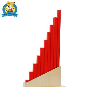 China Wooden Educational Toys  Montessori Sensorial Material Long Red Rods for kindergarten and perschool on sale