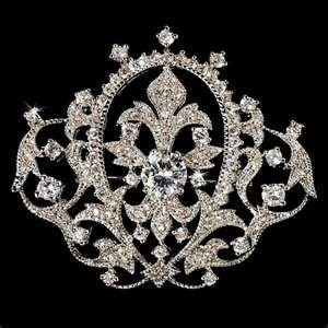 China vintage Stainless Steel shiny polished Crystal Bridal Brooches with Zircon Stone on sale