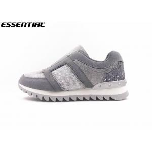 grey slip on ladies sneaker comfortable big teeth outsole imi. suede fur fabric