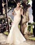 beautiful Deep V Neck Mesh mermaid Wedding Dresses Women Lace Wedding Gowns