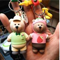 China Custom High Quality 3d Brown Bear Doll Keychain Key Holder With Silicone Wristband, Different Design Available on sale