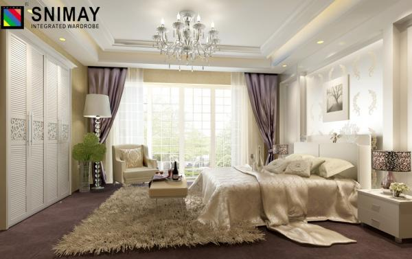 Louvred Modern White Wood Bedroom Furniture Sets Folding ...