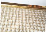 Decoration Square Hole Type Handrail Balustrade Weave Mesh With Gold Color Frame